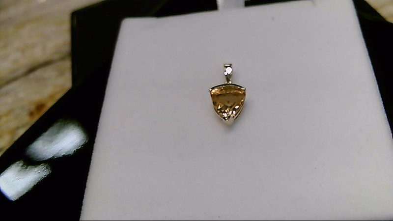 Synthetic Citrine Gold-Diamond & Stone Pendant .01 CT. 10K Yellow Gold 1.2g