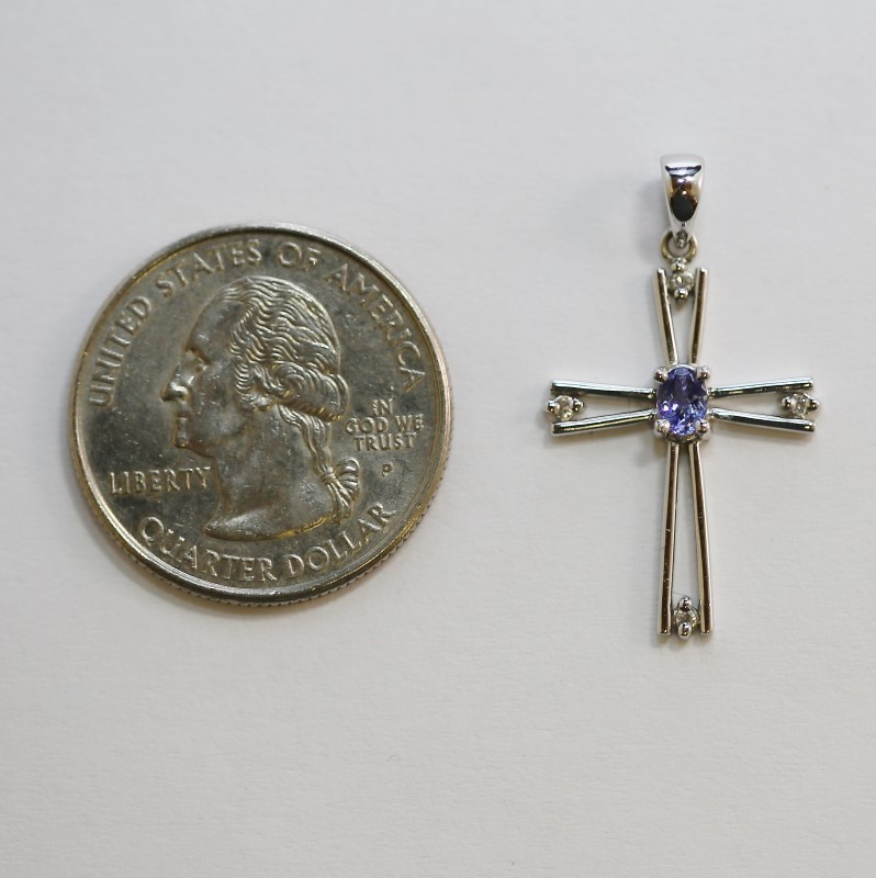 10K White Gold with Purple Stone Accent Cross Pendant