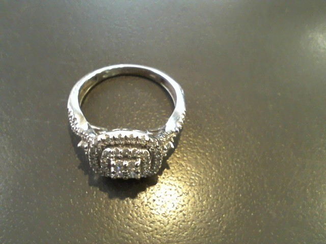 Lady's Diamond Fashion Ring 55 Diamonds .79 Carat T.W. 14K White Gold 4g