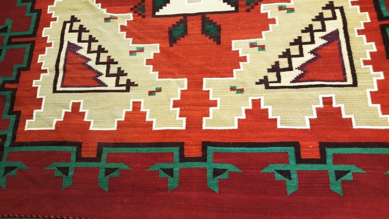 "Large Navajo Ganado Red Rug 115"" By 77"" Handspun Red, Tan, Green"