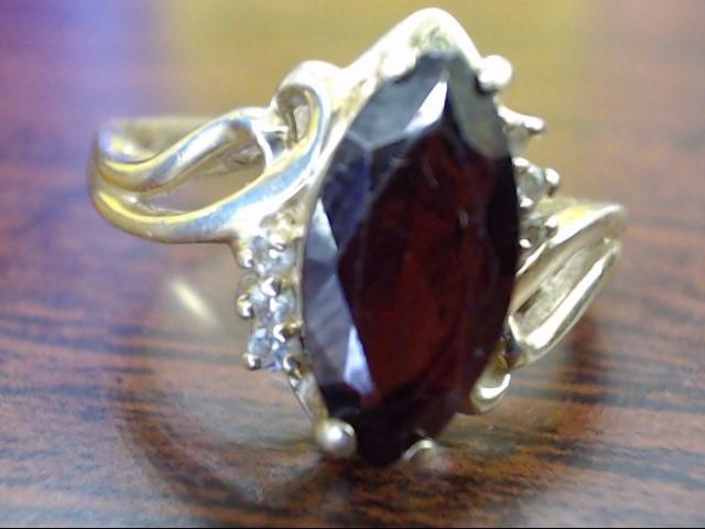 Red Stone Lady's Stone & Diamond Ring 6 Diamonds .06 Carat T.W. 14K Yellow Gold
