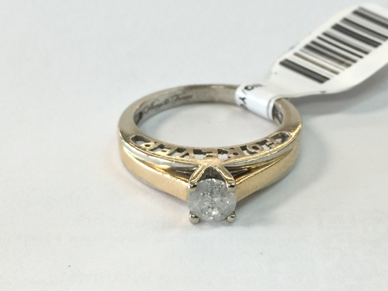 WG/YG Lady's Diamond Solitaire Ring .50CT SOL. .50 CT. 14K White Gold 3.1dwt