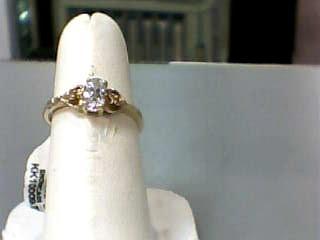 White Stone Lady's Stone Ring 10K Yellow Gold 1.1dwt Size:6.5