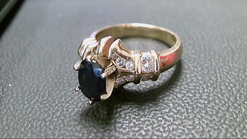 Sapphire Lady's Stone & Diamond Ring 16 Diamonds .84 Carat T.W. 14K Yellow Gold