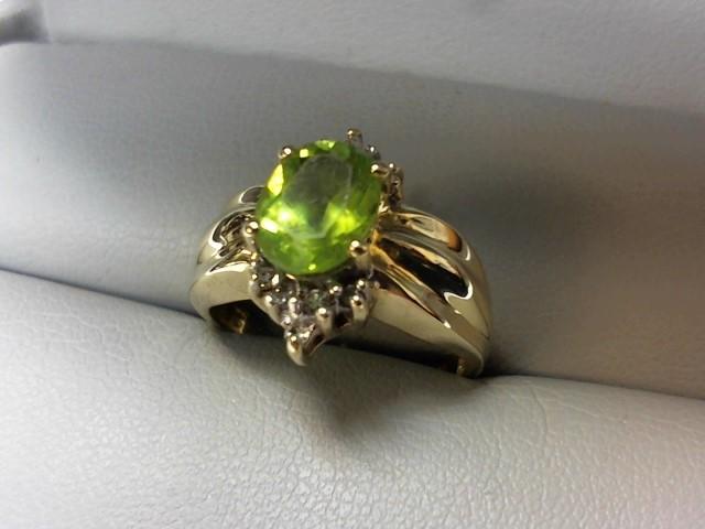 Peridot Lady's Stone & Diamond Ring 10 Diamonds .10 Carat T.W. 14K Yellow Gold