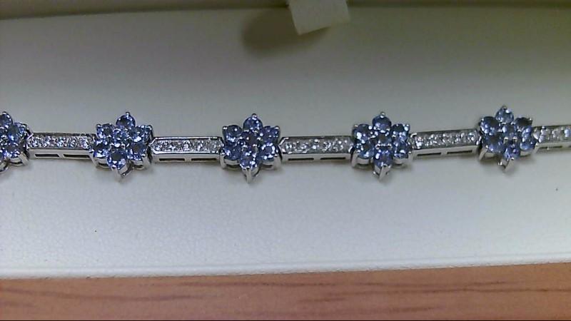 Lady's Genuine Tanzanite and Diamond 14K White Gold Bracelet
