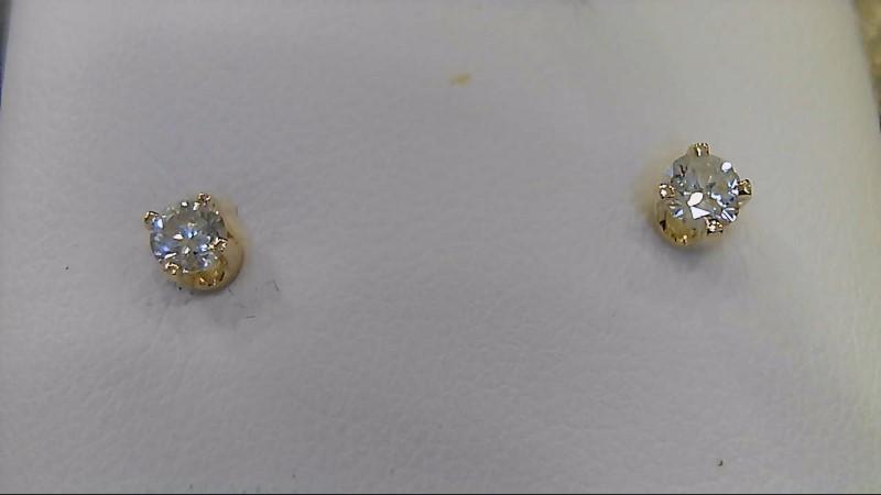 Gold-Diamond Earrings 2 Diamonds .20 Carat T.W. 14K Yellow Gold 0.5g