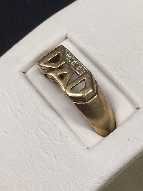 """Gold """"DAD"""" Ring 10K Yellow Gold 2dwt Size:9"""