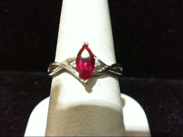 Lady's Diamond Fashion Ring 2 Diamonds .010 Carat T.W. 10K White Gold 1.81g