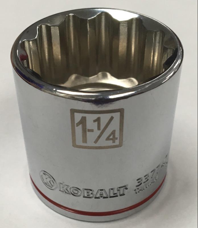 "KOBALT TOOLS SOCKETS 337747 1/2"" DRIVE 1-1/4"" SHALLOW 12-POINT"