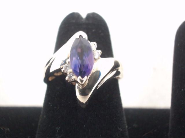 Purple Stone Lady's Stone & Diamond Ring 4 Diamonds .08 Carat T.W.
