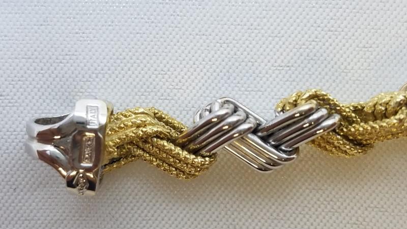 Gold Fine Bracelet 18K 2 Tone Gold 13.6g