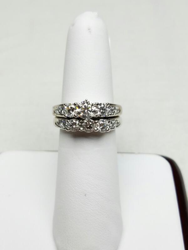 Lady's Diamond Wedding Set 14 Diamonds 1.24 Carat T.W. 14K White Gold 8.6g