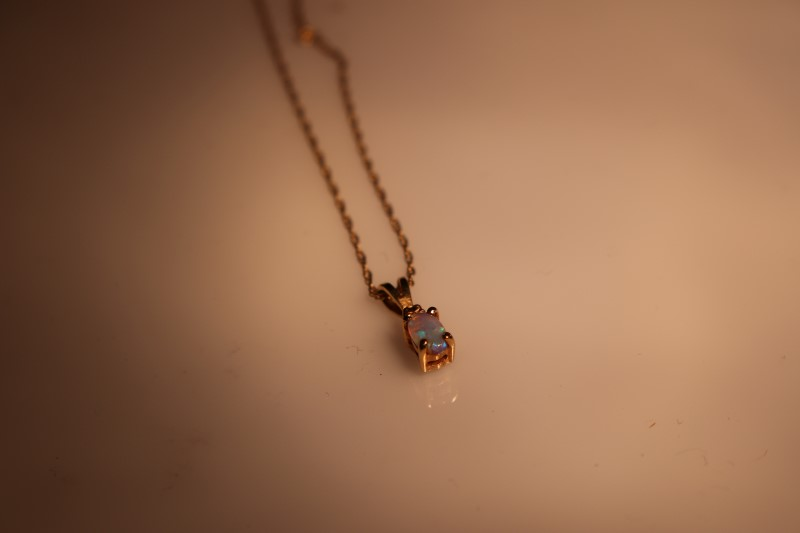 Synthetic Opal Diamond & Stone Necklace .003 CT. 10K Yellow Gold 1.09g