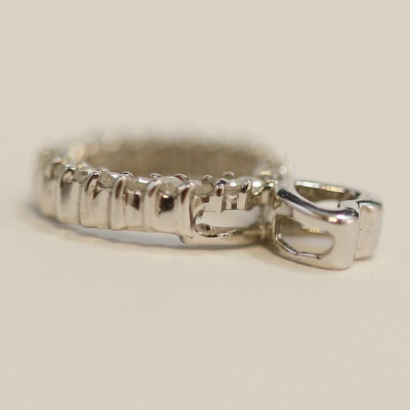 14k White Gold Circlular Shape Channel Set Brilliant Diamond Pendant