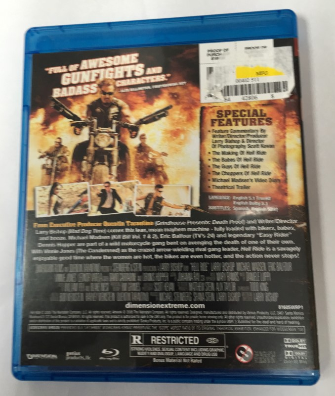 """HELL RIDE"" BLU-RAY MOVIE (2008) QUENTIN TARANTINO PRESENTS"