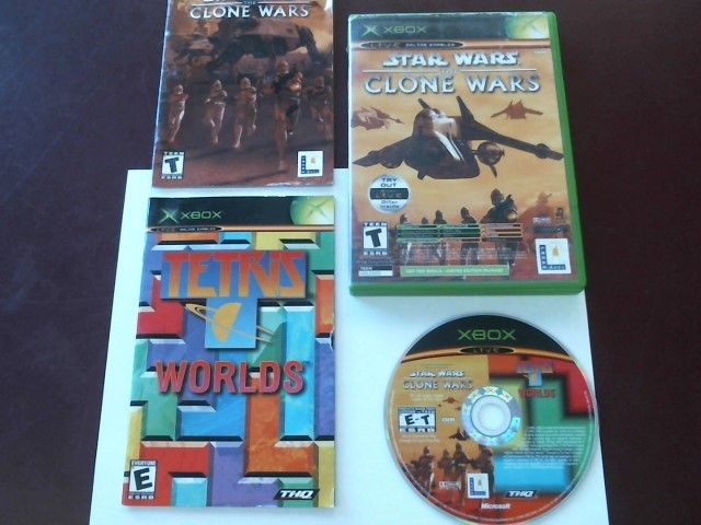 XBOX STAR WARS THE CLONE WARS & TETRIS WORLDS WITH MANUALS/CASE