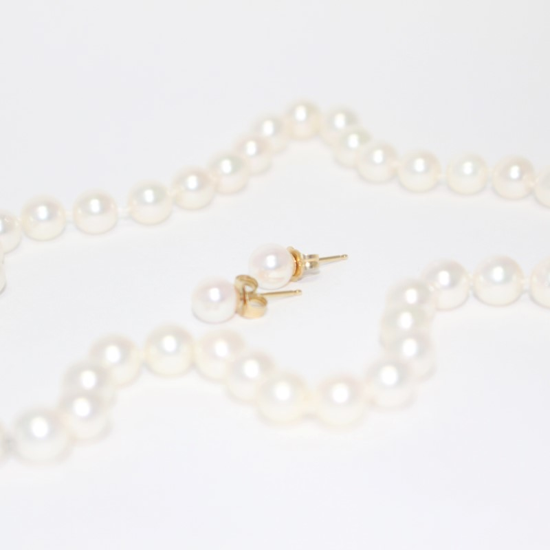 "19"" 14K Yellow Gold and Pearl Matching Necklace and Stud Earing Set"