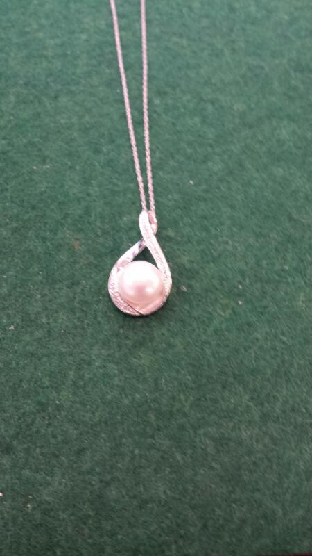 Synthetic Pearl Gold-Diamond & Stone Pendant 25 Diamonds .25 Carat T.W.