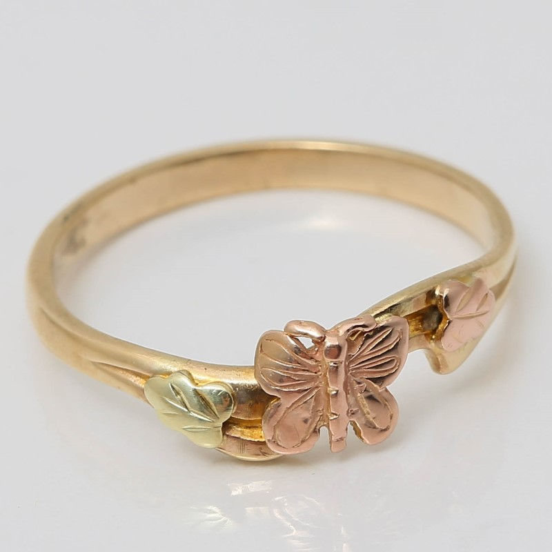 10K 3-Tone Gold Butterfly and Leaves Ring Size 6.8 Fall Theme
