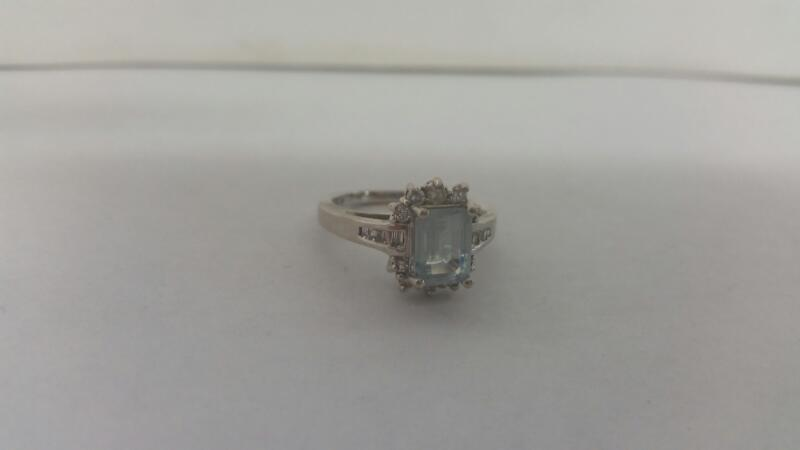 Lds 14K-W/G Stone And Diamond Ring