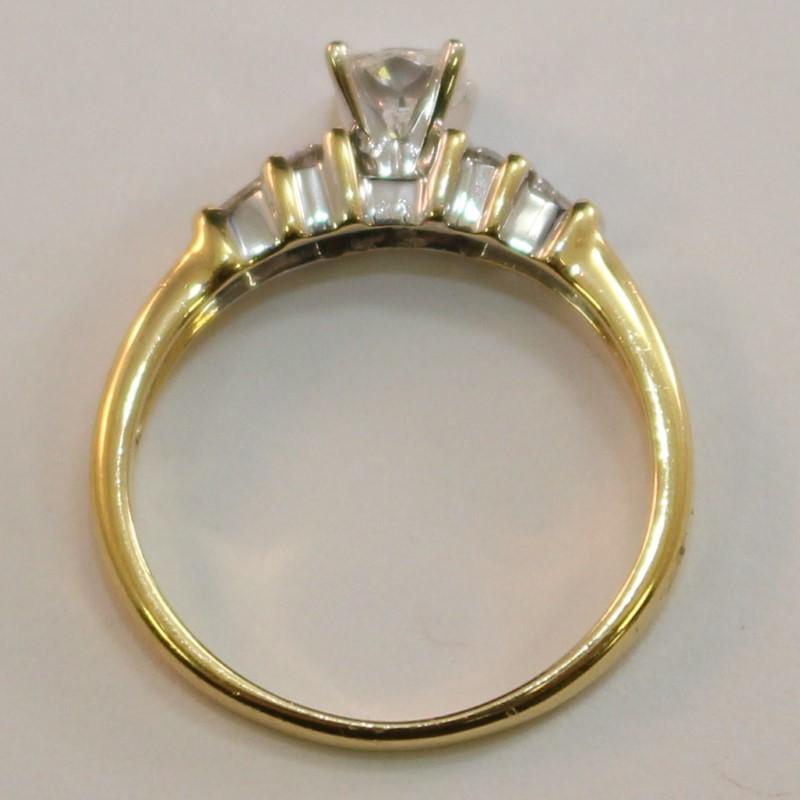 18K Y/G Cushion, Baguette & Round Diamond Engagement Ring Size 6.5