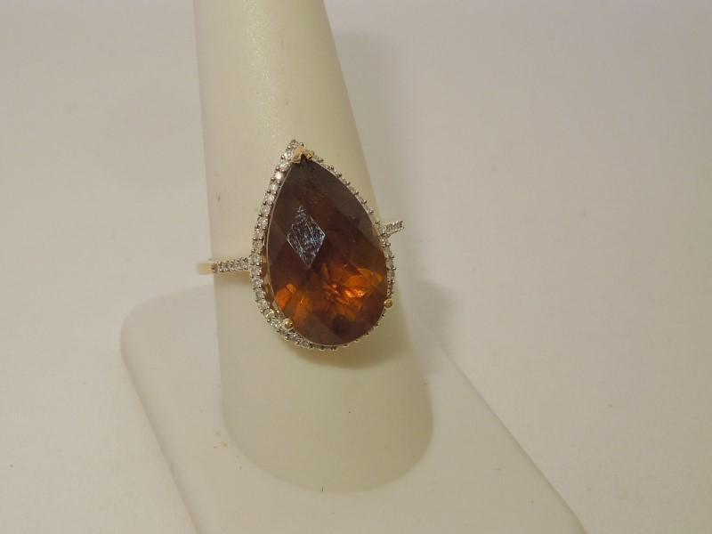 Brown Stone Lady's Stone & Diamond Ring 53 Diamonds .265 Carat T.W.