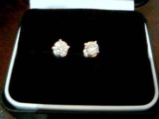 Gold-Diamond Earrings 2 Diamonds 1.00 Carat T.W. 14K White Gold 1g