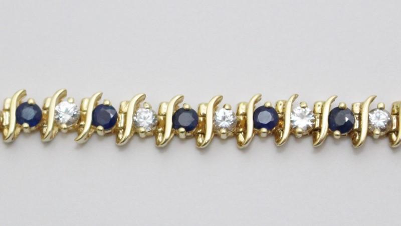 "6"" 14K Yellow Gold Wave Style Round Sapphire & Diamond Tennis Bracelet"