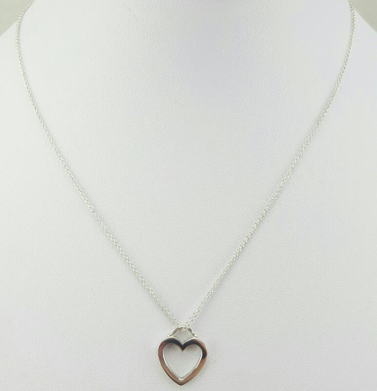 """Tiffany & Co. Open Heart Pendant 16"""" 925 Silver 2.5g"""