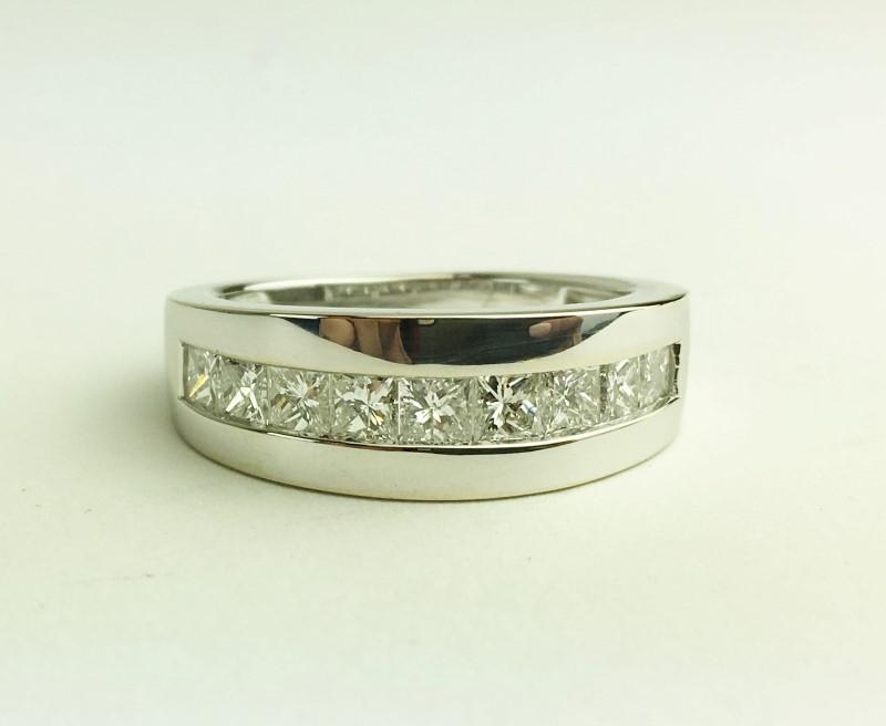 GENTS 14K WHITE GOLD DIAMOND WEDDING BAND APX 1.95CTW SIZE 9.5