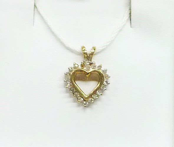 Gold-Multi-Diamond Pendant 25 Diamonds .50 Carat T.W. 10K Yellow Gold 0.72dwt