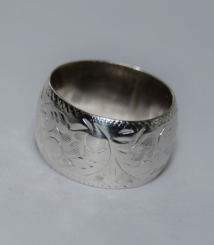 Sterling Silver Thick Floral Etched Filigree Ring Band Size 5