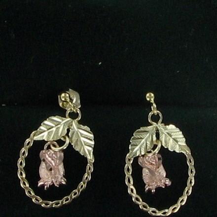 Gold Earrings 14K 2 Tone Gold 1.1dwt