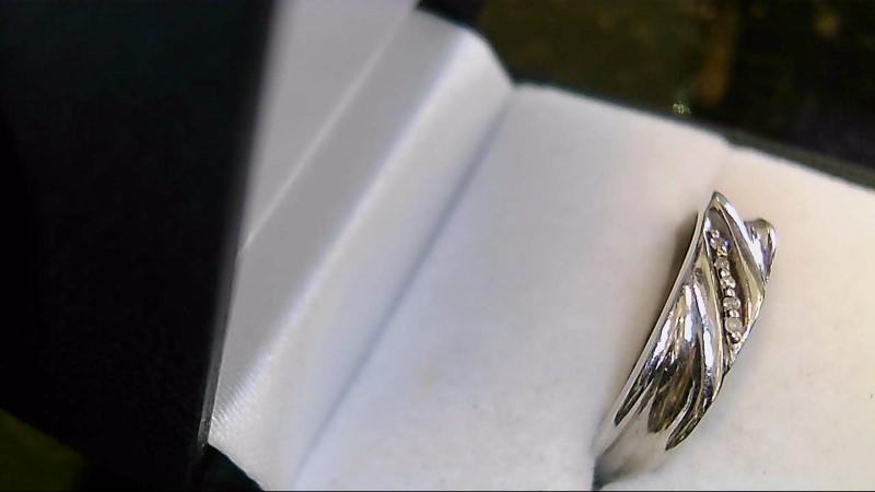 Gent's Gold-Diamond Wedding Band 4 Diamonds .04 Carat T.W. 10K White Gold 4.8g