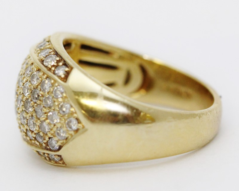14K Yellow Gold Round Pave Set Diamond Cluster Statement Ring Size 8.75