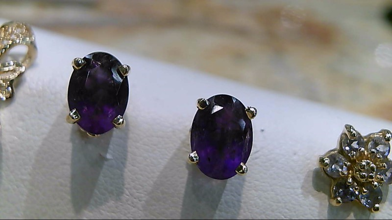 Amethyst Gold-Stone Earrings 14K Yellow Gold 1.8g