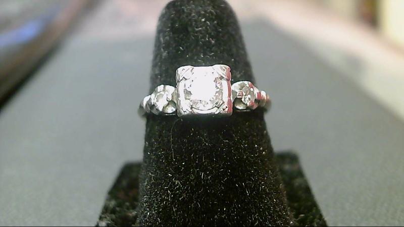 Lady's Diamond Fashion Ring 3 Diamonds .59 Carat T.W. 14K White Gold 2.5g