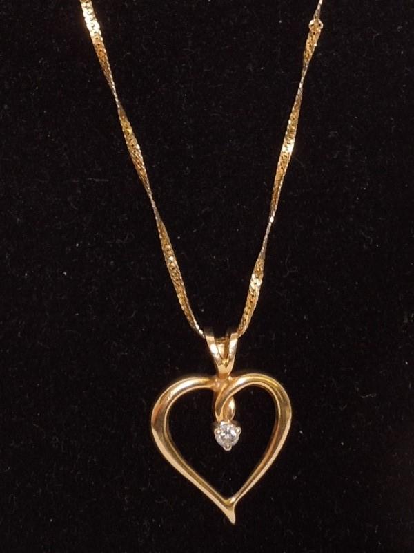 "19"" Diamond Necklace .05 CT. 14K Yellow Gold 2.8g"