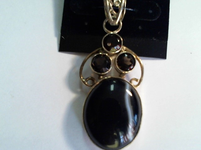 .925 SILVER INDIA AGATE WITH SMOKEY QUARTZ OVER ALL SZ 53X30MM