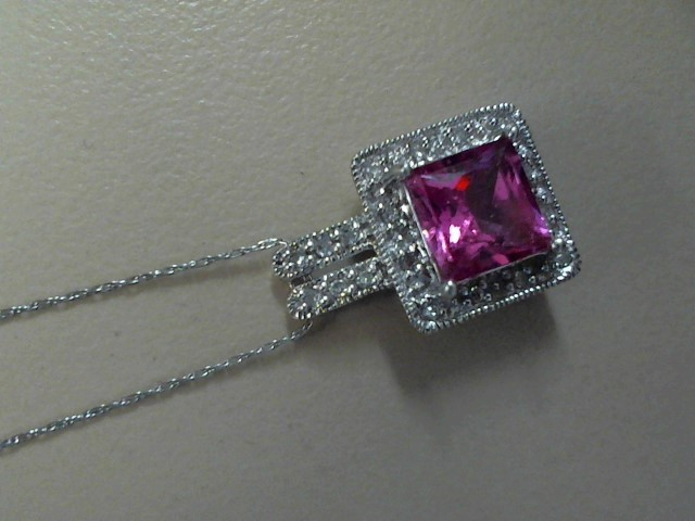 Pink Stone Diamond & Stone Necklace 18 Diamonds .18 Carat T.W. 10K White Gold