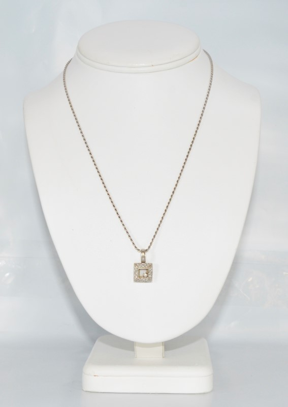 """18"""" 18K White Gold Square Shaped Floating Diamond Necklace w/ Rope"""