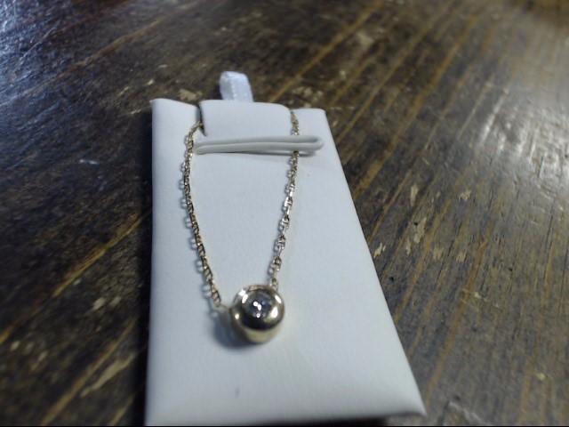 White Stone Diamond & Stone Necklace .05 CT. 14K Yellow Gold 2.5g