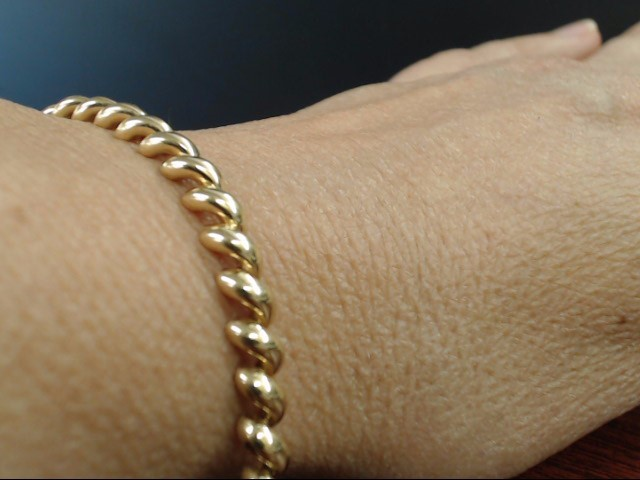 """VINTAGE SAN MARCO BRACELET REAL 14K YELLOW GOLD ITALY 10.4g 5.2mm 7"""""""
