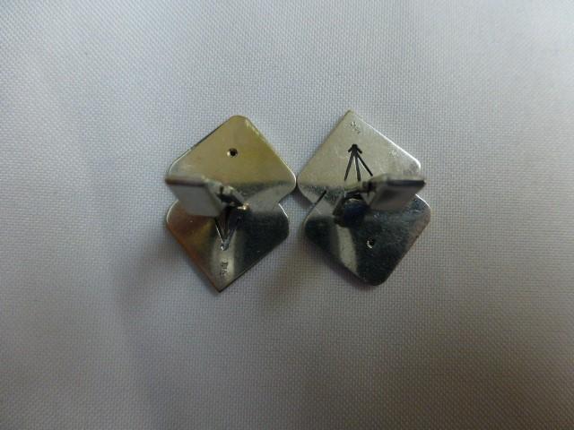White Gold & Diamond Cuff Links 2 Diamonds .16 Carat T.W. 14K White Gold 22.1g