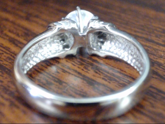 ESTATE CZ ENGAGEMENT WEDDING RING SOLID REAL 14K WHITE GOLD SIZE 5