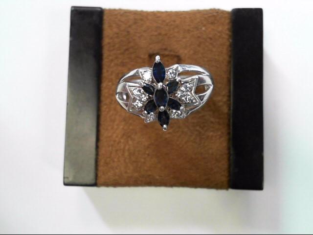 Blue Stone Lady's Silver-Diamond & Stone Ring 10 Diamonds .10 Carat T.W.