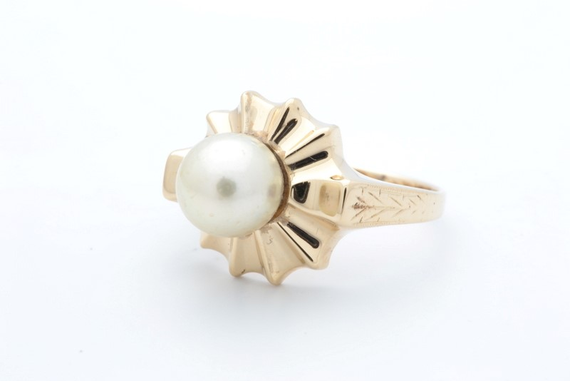 ESTATE PEARL RING SOLID 14K YELLOW GOLD SUN BURST ROMANY SIZE 7.75