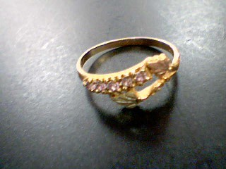 Pink Stone Lady's Stone Ring 10K Yellow Gold 1.6g Size:7