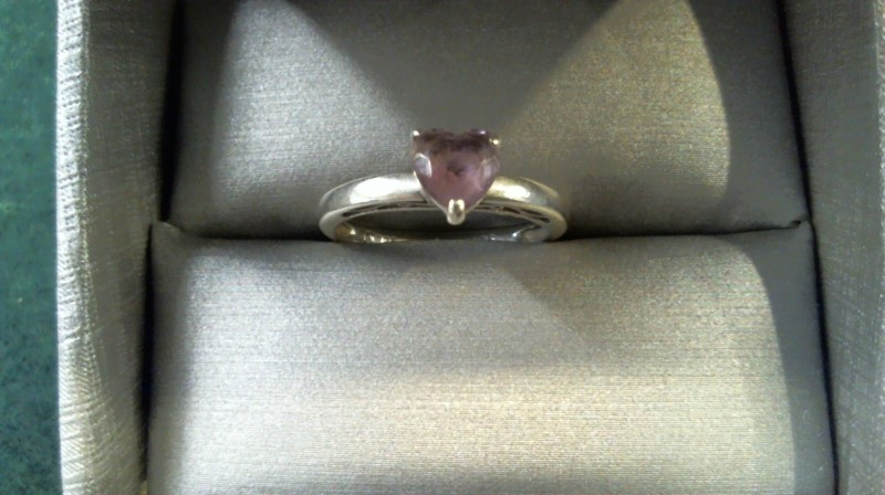 Synthetic Amethyst Lady's Silver & Stone Ring 925 Silver 1.8g Size:5.5